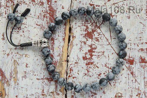 Буддийские четки-браслет из снежного матового обсидиана 27 бусин