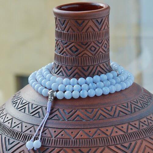 Изящные буддийские четки из сапфирина с серебряной гуру 108 бусин