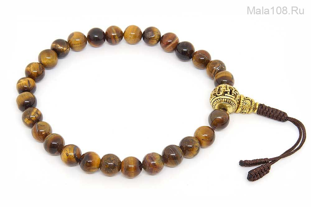 Крупные буддийские четки-браслет из тигрового глаза 27 бусин