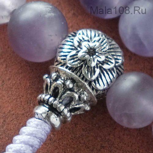 Буддийские четки из матового аметиста 108 бусин с серебряной гуру