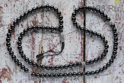 Классические буддийские четки из гагата 108 бусин с серебряной Дзи