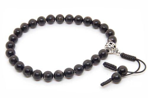 Буддийские четки-браслет из гиперстена 27 бусин с серебряной гуру