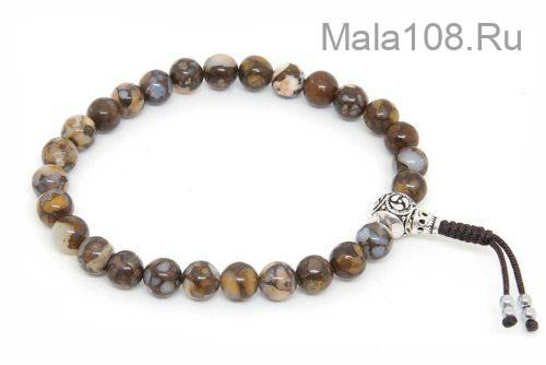 Изящные буддийские четки-браслет из лланита 27 бусин