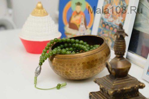 Буддийские четки из нефрита с серебряной Дзи 108 бусин