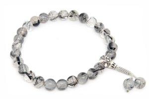 Буддийские четки-браслет из кварца-волосатика с серебряной гуру