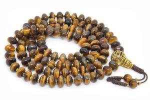 Крупные буддийские четки из тигрового глаза рондель 108 бусин