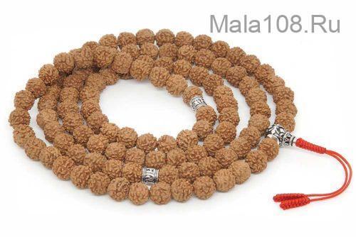 Буддийские четки из рудракши 108 бусин с серебряной гуру