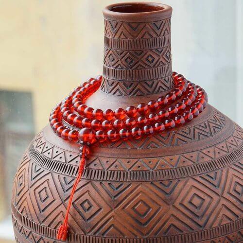 Буддийские четки из янтаря «кровь дракона» 108 бусин