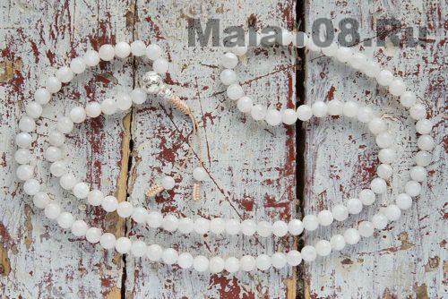 Буддийские четки из лунного камня 9 мм 108 бусин с серебряной гуру