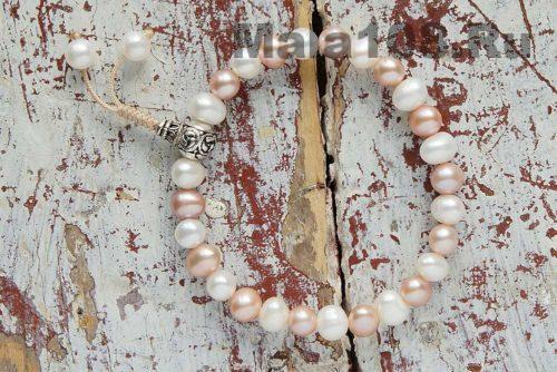 Буддийские четки-браслет из жемчуга 27 бусин с серебряной гуру