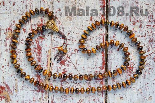 Крупные буддийские четки из тигрового глаза 108 бусин