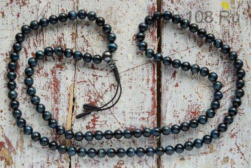 Крупные буддийские четки из камня соколиный глаз 108 бусин