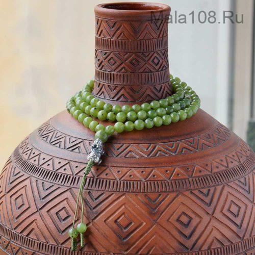 Изящные буддийские четки из нефрита 108 бусин с серебряной Пи Яо