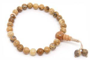 Изящные буддийские четки-браслет из пейзажной яшмы 27 бусин
