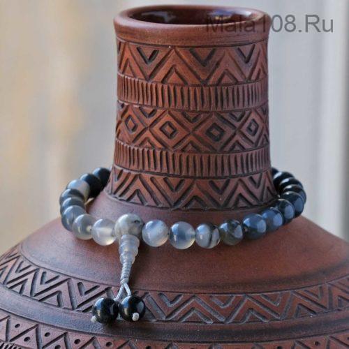 Буддийские четки-браслет из агата 27 бусин