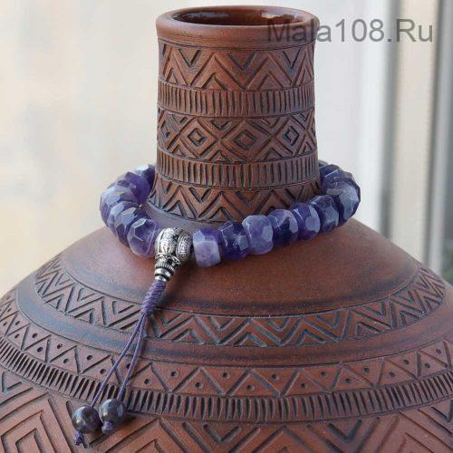 Крупные буддийские четки-браслет из аметиста 27 бусин