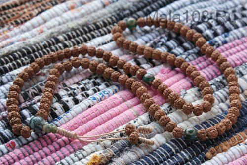 Изящные буддийские четки из рудракши и Дзи 108 бусин