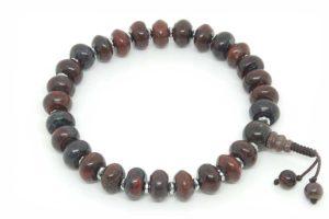 Буддийские четки-браслет из темно-красной яшмы рондель 27 бусин