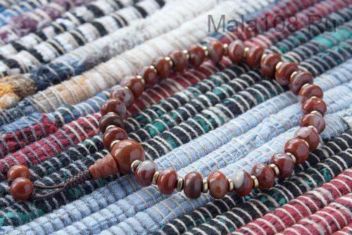 Буддийские четки-браслет из красной яшмы рондель 27 бусин