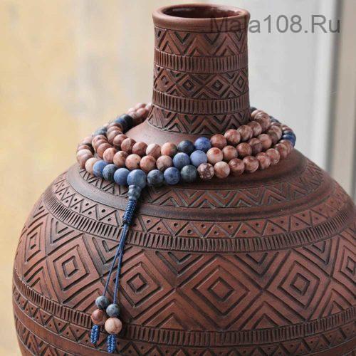 Буддийские четки из матового содалита и шоколадной яшмы 108 бусин