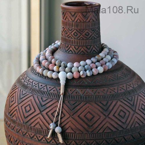 Классические буддийские четки из ботсванского агата 108 бусин