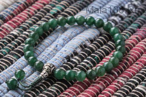 Изящные буддийские четки-браслет из авантюрина 27 бусин с серебряной гуру