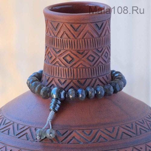 Буддийские четки-браслет из лабрадора рондель 27 бусин