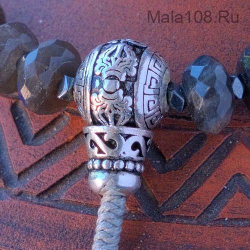 Буддийские четки из лабрадора рондель с серебряной гуру 108 бусин