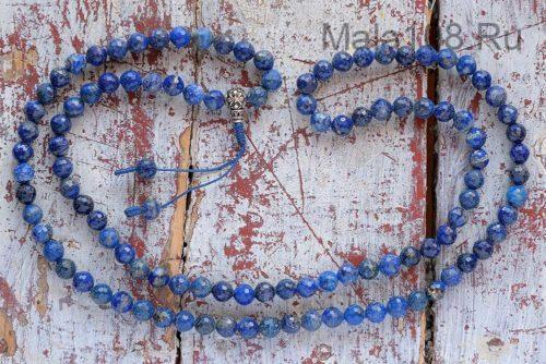 Классические буддийские четки из граненого лазурита 108 бусин