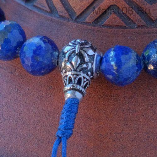 Буддийские четки-браслет из граненого лазурита 27 бусин
