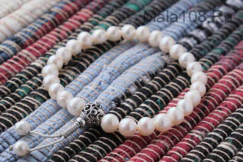 Изящные буддийские четки-браслет из жемчуга 27 бусин с серебряной гуру