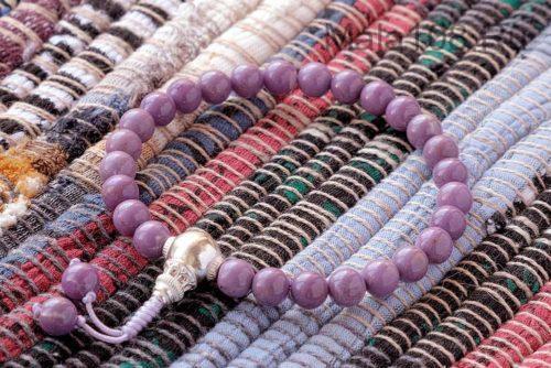 Буддийские четки-браслет из фосфосидерита с серебряной гуру