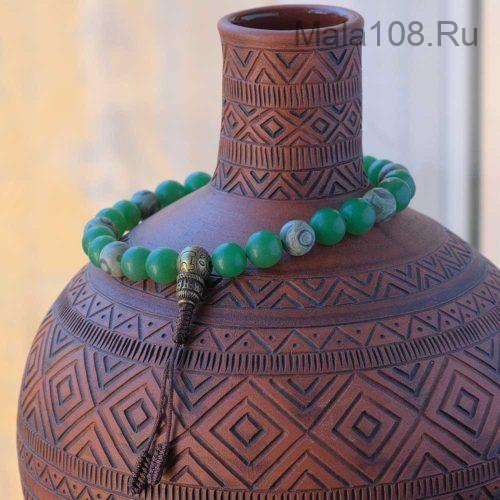 Крупные буддийские четки-браслет из кварца и бусин Дзи
