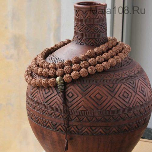 Крупные буддийские четки из рудракши 108 бусин