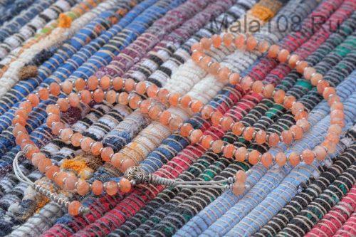 Буддийские четки из солнечного камня 108 бусин с серебряной гуру