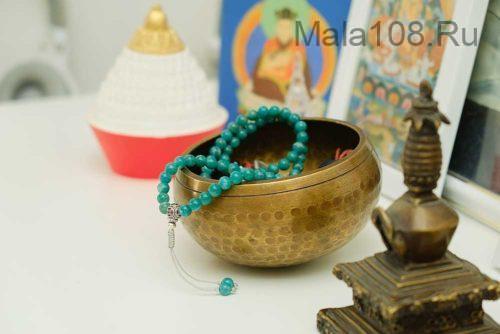 Буддийские четки из амазонита 108 бусин с серебряной гуру