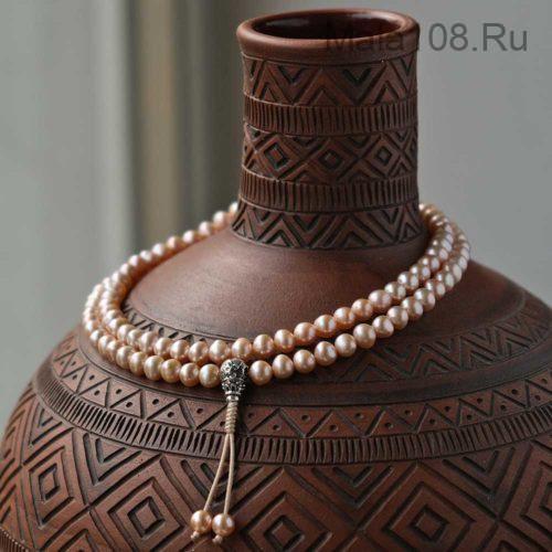 Изящные буддийские четки из жемчуга 108 бусин с серебряной гуру