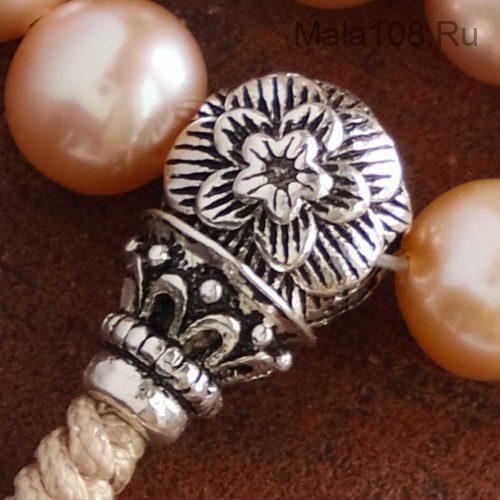Изящные буддийские четки-браслет из розового жемчуга 27 бусин