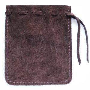 Мешочек из темно-коричневой замши для хранения четок