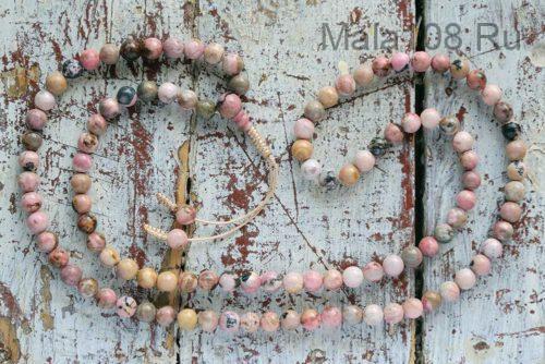 Классические буддийские четки из родонита 108 бусин