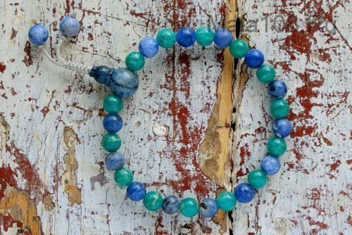 Буддийские четки-браслет из содалита и амазонита 27 бусин