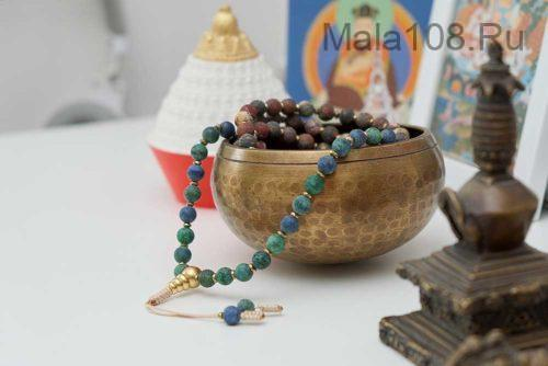Буддийские четки из матового азуромалахита и яшмы 108 бусин