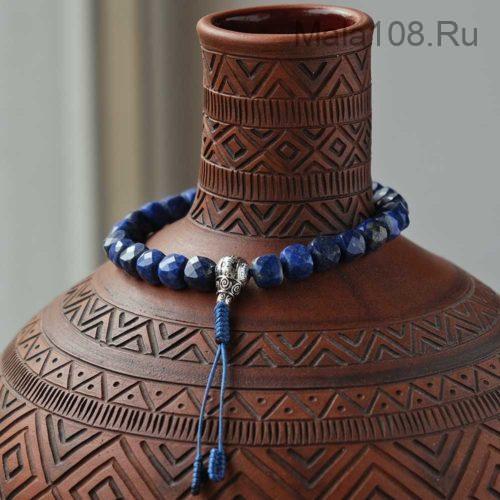 Буддийские четки-браслет из кубиков лазурита 27 бусин с серебряной гуру