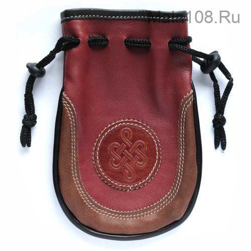 Мешочек красно-коричневый из двух видов кожи для хранения четок