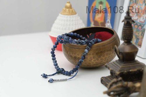 Буддийские четки из содалита 108 бусин