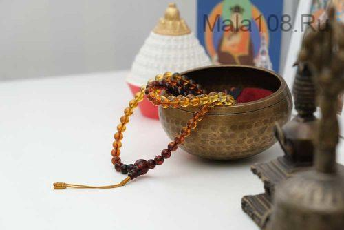 Буддийские четки из янтаря с переходом цвета 108 бусин