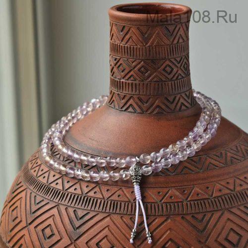 Изящные буддийские четки из аметрина с серебряной гуру 108 бусин