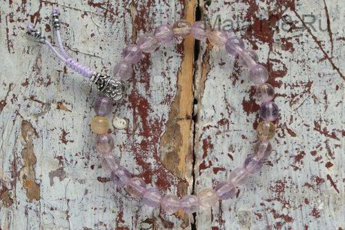 Изящные буддийские четки-браслет из граненого аметрина 27 бусин