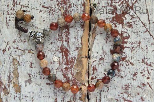 Изящные буддийские четки-браслет из петерсита и гессонита 27 бусин