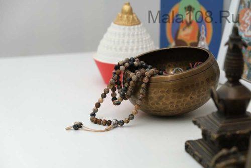 Изящные буддийские четки из петерсита с серебряной гуру 108 бусин